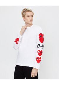 COMME DES GARCONS PLAY - Biała koszulka z czerwonymi sercami. Okazja: na co dzień. Kolor: biały. Materiał: bawełna, jeans. Długość rękawa: długi rękaw. Długość: długie. Styl: elegancki, casual