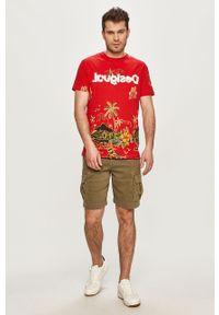 Czerwony t-shirt Desigual casualowy, na co dzień