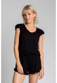 MOE - Koszulka Top do Spania z Falbankami - Czarna. Kolor: czarny. Materiał: wiskoza, elastan
