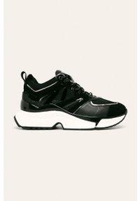 Czarne buty sportowe Karl Lagerfeld na średnim obcasie, z cholewką