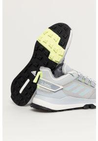 Szare buty trekkingowe adidas Performance z cholewką, na sznurówki, z okrągłym noskiem