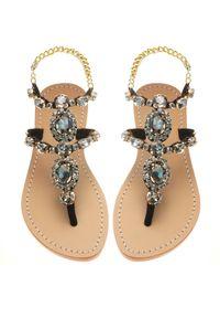 MYSTIQUE SHOES - Czarne sandały z kryształami Waialua. Zapięcie: pasek. Kolor: czarny. Materiał: zamsz. Wzór: paski, aplikacja