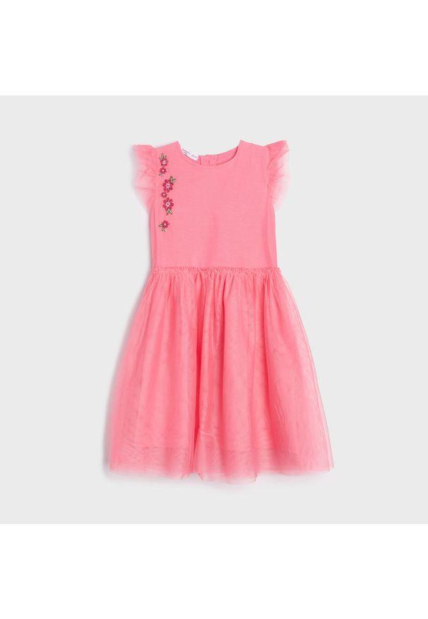 Sinsay - Sukienka z tiulem - Fioletowy. Kolor: fioletowy. Materiał: tiul