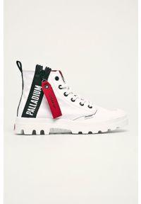 Palladium - Trampki. Nosek buta: okrągły. Zapięcie: sznurówki. Kolor: biały. Materiał: guma