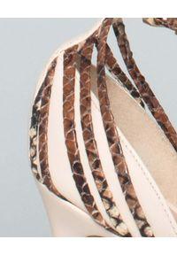 CESARE PACIOTTI - Szpilki z naturalnej skóry. Zapięcie: klamry. Kolor: brązowy. Materiał: skóra. Wzór: motyw zwierzęcy. Obcas: na szpilce. Styl: elegancki