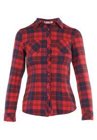 Born2be - Granatowo-Czerwona Koszula Saliaphe. Okazja: na co dzień. Kolor: niebieski. Materiał: bawełna, tkanina. Długość: długie. Styl: sportowy, klasyczny, casual