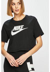 Nike Sportswear - Top. Okazja: na co dzień. Kolor: czarny. Wzór: nadruk. Styl: casual