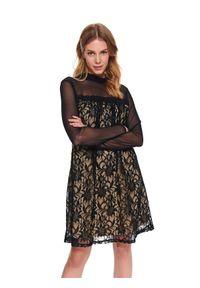 Czarna sukienka TOP SECRET ze stójką, elegancka