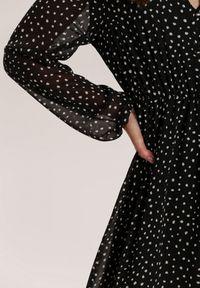 Renee - Czarna Sukienka Wheatmore. Kolor: czarny. Wzór: kropki. Długość: midi