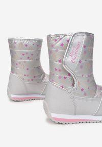 Born2be - Szare Śniegowce Kydonia. Wysokość cholewki: za kostkę. Nosek buta: okrągły. Zapięcie: rzepy. Kolor: szary. Materiał: futro, materiał. Szerokość cholewki: normalna. Wzór: napisy, nadruk, aplikacja, kolorowy. Sezon: zima