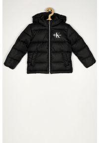 Czarna kurtka Calvin Klein Jeans z kapturem, casualowa, na co dzień