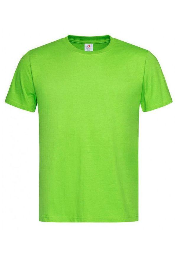 Zielony t-shirt Stedman casualowy, krótki, z krótkim rękawem, na co dzień