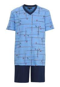 Cellbes Piżama we wzory granatowy male ze wzorem/niebieski S. Kolor: niebieski. Materiał: guma, jersey. Długość: krótkie
