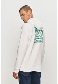 Biała bluza nierozpinana columbia z kapturem, z nadrukiem