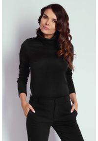 Czarna bluzka z długim rękawem Nommo z golfem