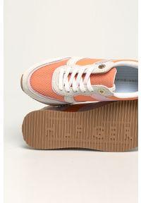 Pomarańczowe buty sportowe TOMMY HILFIGER z okrągłym noskiem, z cholewką