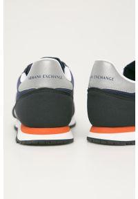 Niebieskie sneakersy Armani Exchange na sznurówki, z okrągłym noskiem, z cholewką #5