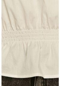 Biała bluzka Noisy may na co dzień, z okrągłym kołnierzem, długa, z długim rękawem