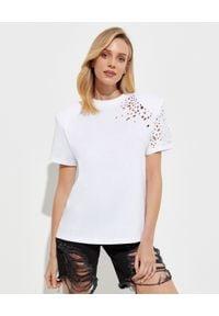 SER.O.YA - Biały t-shirt Caroline. Kolor: biały. Materiał: bawełna. Wzór: aplikacja
