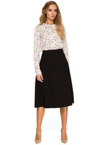 MOE - Klasyczna Trapezowa Spódnica Midi - Czarna. Kolor: czarny. Materiał: poliester, wiskoza, elastan. Styl: klasyczny