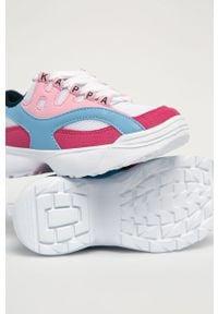 Różowe buty sportowe Kappa z cholewką, z okrągłym noskiem, na sznurówki