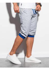 Ombre Clothing - Krótkie spodenki męskie dresowe P29 - szaro-niebieskie - XXL. Kolor: szary. Materiał: dresówka. Długość: krótkie. Styl: klasyczny #3