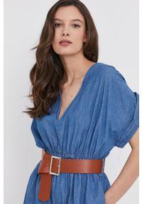 Answear Lab - Kombinezon jeansowy. Kolor: niebieski. Materiał: jeans. Długość rękawa: krótki rękaw. Długość: krótkie. Styl: wakacyjny