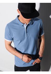 Ombre Clothing - Koszulka męska polo bawełniana S1382 - niebieska - XXL. Typ kołnierza: polo. Kolor: niebieski. Materiał: bawełna. Wzór: nadruk. Styl: klasyczny