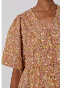 Y.A.S - Sukienka. Kolor: beżowy. Materiał: tkanina. Długość rękawa: krótki rękaw. Typ sukienki: rozkloszowane #3