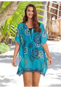 Niebieska tunika bonprix z nadrukiem, z dekoltem w serek, na plażę