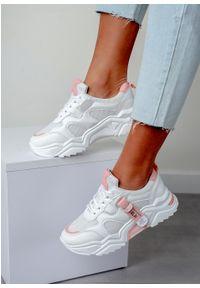 Casu - Białe buty sportowe sneakersy sznurowane casu 20f5/p. Kolor: biały, różowy, wielokolorowy. Materiał: skóra ekologiczna, materiał. Szerokość cholewki: normalna. Sezon: wiosna