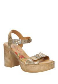 Marila - sandały skórzane na słupku marila 6032/il-24. Kolor: złoty. Materiał: skóra. Sezon: lato. Obcas: na słupku