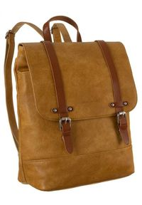 DAVID JONES - Plecak damski żółty David Jones 6443-2 YELLOW. Kolor: żółty. Materiał: skóra ekologiczna. Styl: retro