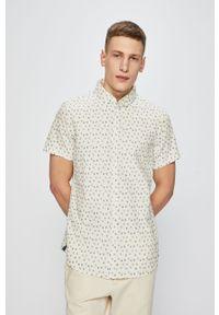 Kremowa koszula Blend casualowa, krótka, na co dzień, button down
