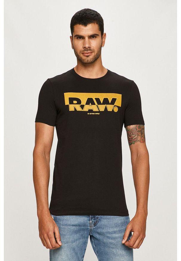 Czarny t-shirt G-Star RAW z okrągłym kołnierzem, z nadrukiem