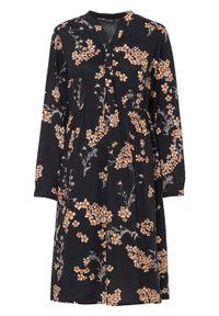 Sukienka z nadrukiem bonprix czarno-beżowo-brązowy w kwiaty. Kolor: czarny. Wzór: kwiaty, nadruk