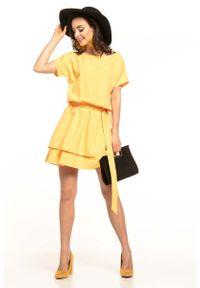 Tessita - Żółta Kobieca Sukienka z Podwójną Spódnicą. Kolor: żółty. Materiał: poliester, elastan