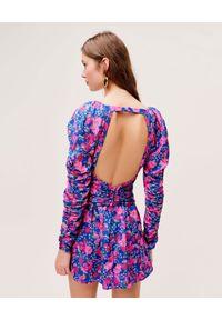 Niebieska sukienka mini For Love & Lemons w kwiaty, na randkę, dopasowana