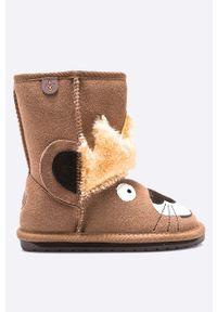 Brązowe buty zimowe EMU Australia z cholewką, z okrągłym noskiem, na zimę