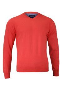 Pomarańczowy sweter Adriano Guinari klasyczny, z dekoltem w serek, na spotkanie biznesowe