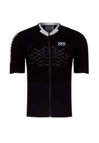 Czarna koszulka termoaktywna X-Bionic z krótkim rękawem, z asymetrycznym kołnierzem