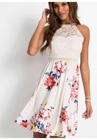 Sukienka w kwiaty bonprix beżowo-niebiesko-jasnoróżowy w kwiaty. Kolor: beżowy. Wzór: kwiaty