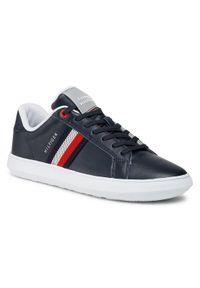 TOMMY HILFIGER - Tommy Hilfiger Sneakersy Essential Leather Cupsole FM0FM03424 Granatowy. Kolor: niebieski