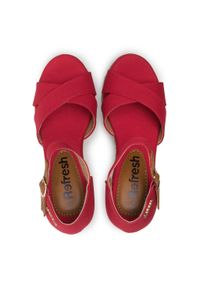 Refresh - Espadryle REFRESH - 72879 Rojo. Okazja: na co dzień, na spacer. Kolor: czerwony. Materiał: materiał. Sezon: lato. Obcas: na obcasie. Styl: casual. Wysokość obcasa: średni #7