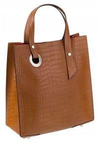 Torebka damska camel ROVICKY TWR-101 TAN. Kolor: brązowy. Materiał: skórzane. Styl: klasyczny