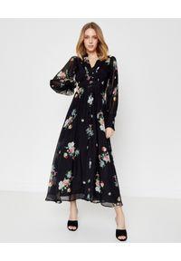 JENESEQUA - Jedwabna sukienka Annecy. Kolor: czarny. Materiał: jedwab. Wzór: aplikacja, kwiaty, nadruk, ażurowy. Styl: klasyczny
