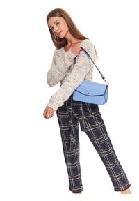 Beżowy sweter TOP SECRET w kolorowe wzory, casualowy, na zimę, z dekoltem w serek