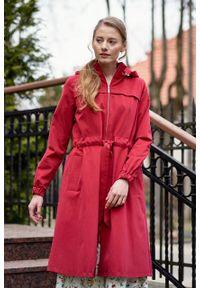 Marie Zélie - Parka Linda bawełna z elastanem czerwona. Kolor: czerwony. Materiał: bawełna, elastan. Długość: długie. Sezon: lato