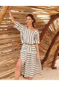 BY CABO - Lniana sukienka Haiti. Kolor: szary. Materiał: len. Wzór: paski. Sezon: lato. Typ sukienki: oversize. Styl: wakacyjny