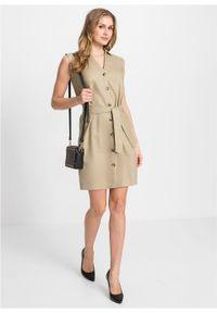 Sukienka lniana bonprix beżowy. Kolor: beżowy. Materiał: len #7